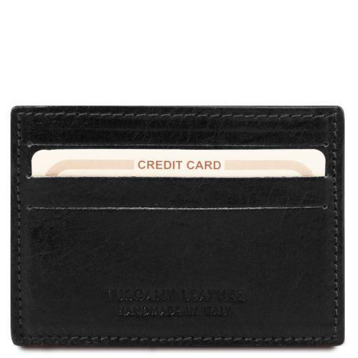 Esclusivo portacarte di credito in pelle Nero TL141011