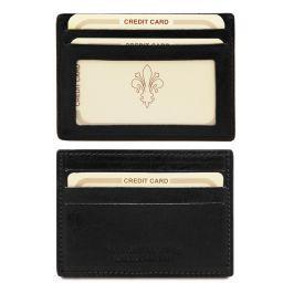 Elegante porta tarjetas de credito en piel Negro TL140805