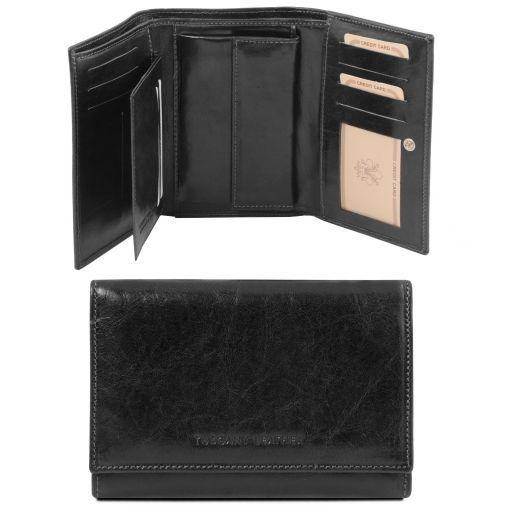 Esclusivo portafogli in pelle da donna 3 ante Nero TL141314