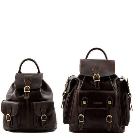 Trekker Travel set Leather backpacks Dark Brown TL90173