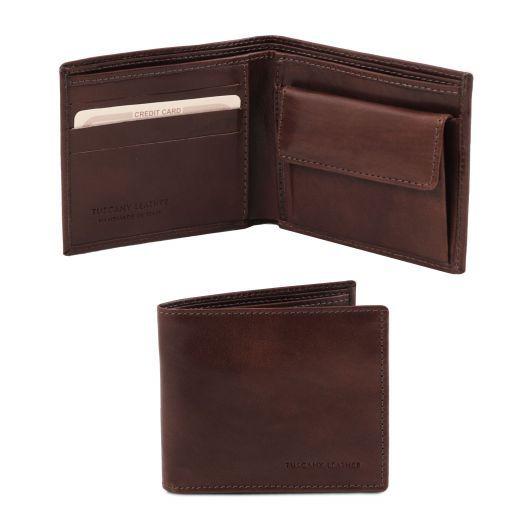 Esclusivo portafoglio uomo in pelle 2 ante con portaspiccioli Testa di Moro TL140761