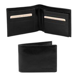 Esclusivo portafoglio uomo in pelle 3 ante Nero TL140817