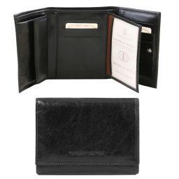 Esclusivo portafogli in pelle da donna 4 ante Nero TL140790