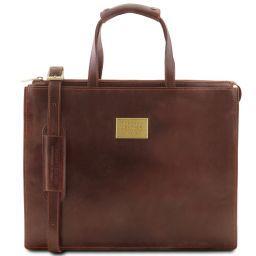 Palermo Damen - Aktentasche aus Leder 3 Fächer Braun TL141343