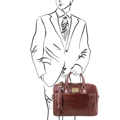 Urbino Cartella in pelle porta computer con tasca frontale Marrone TL141241