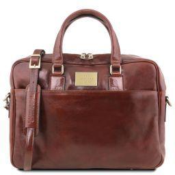 Urbino Notebook-Aktentasche aus Leder mit Vorderfach Braun TL141241