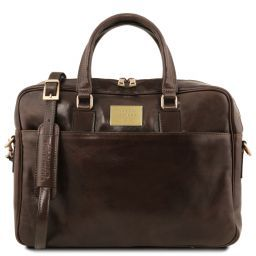 Urbino Leather laptop briefcase with front pocket Dark Brown TL141241
