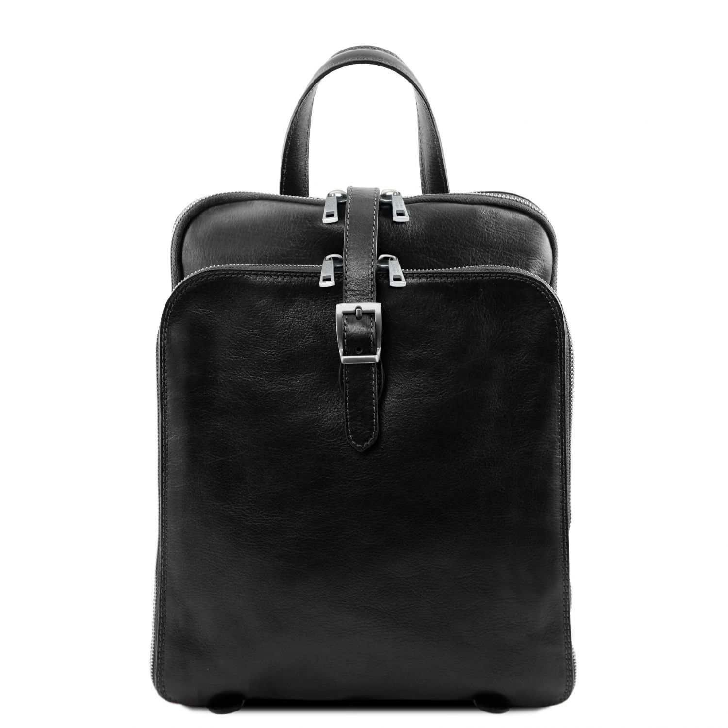 Bilde av 3 Compartments leather backpack Black