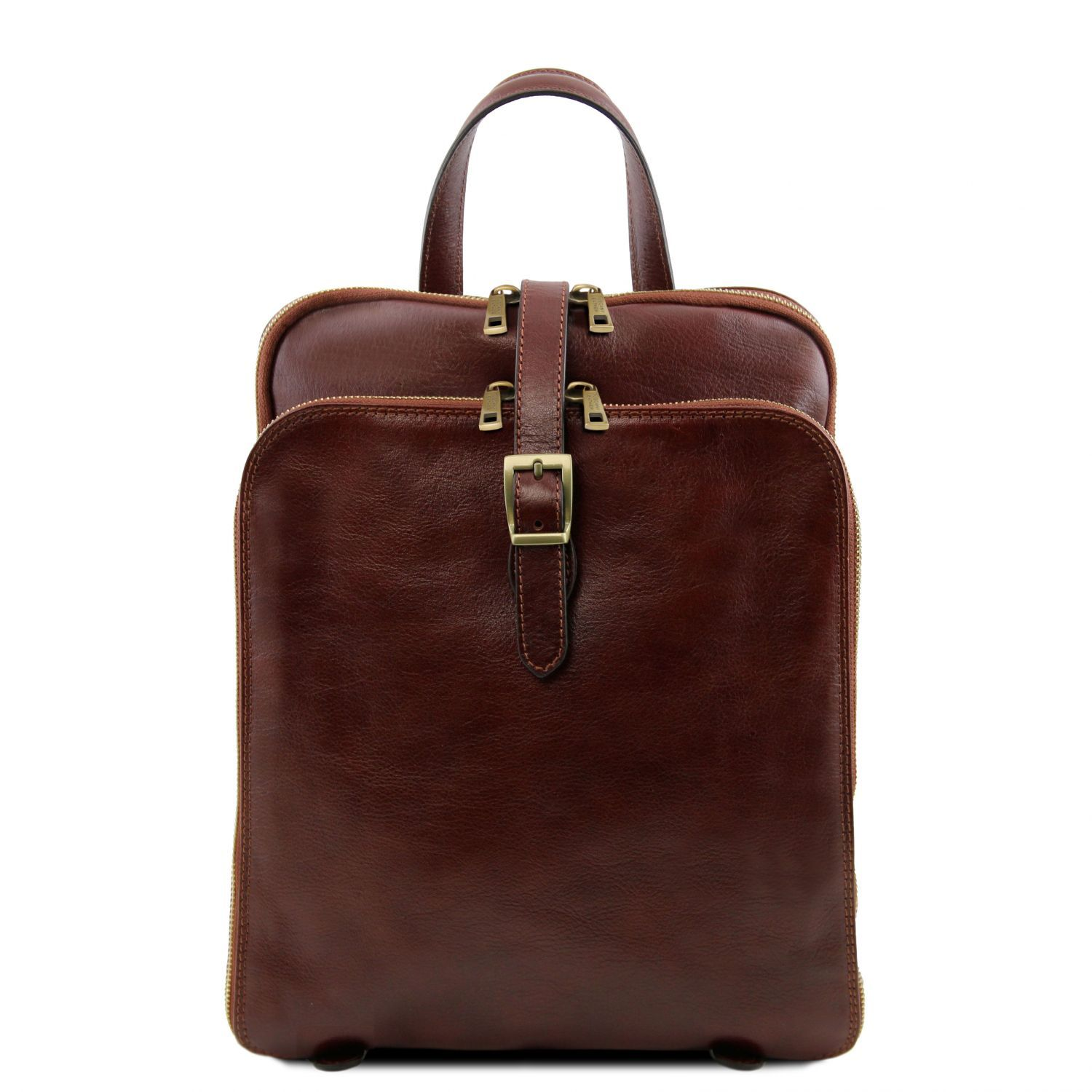 Zdjęcie 3 Compartments leather backpack Brown