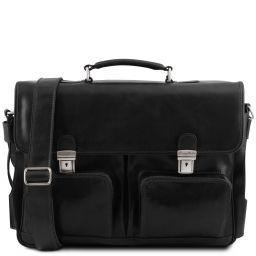 Ventimiglia Leather multi compartment TL SMART briefcase with front pockets Black TL141449