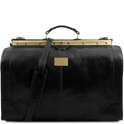 Madrid Gladstone Leather Bag - Large size Black TL1022