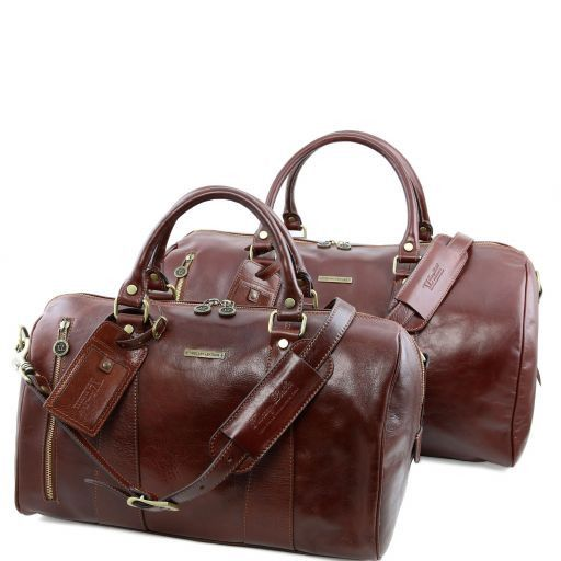 1266f456ea Marco Polo Leather Travel set Brown TL141246