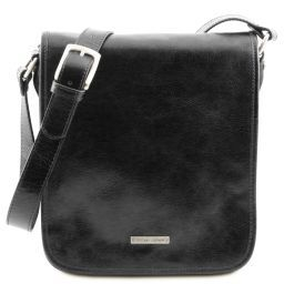 TL Messenger Two compartments leather shoulder bag Black TL141255
