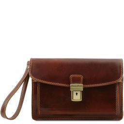 Max Leather handy wrist bag Brown TL8075