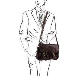 San Marino Sac de voyage en cuir avec poches frontales Noir TL10180