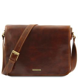 Messenger double Freestyle leather bag Brown TL90475
