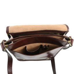 TL Messenger Two compartments leather shoulder bag Brown TL141255