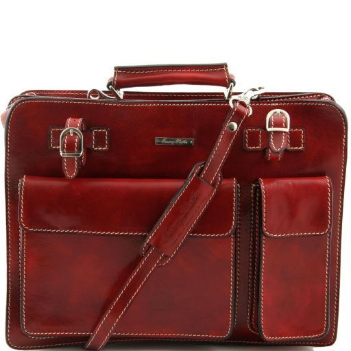 Venezia Cartella in pelle 2 scomparti con zip Rosso TL10020