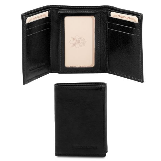 Exclusive 3 fold leather wallet Black TL140801