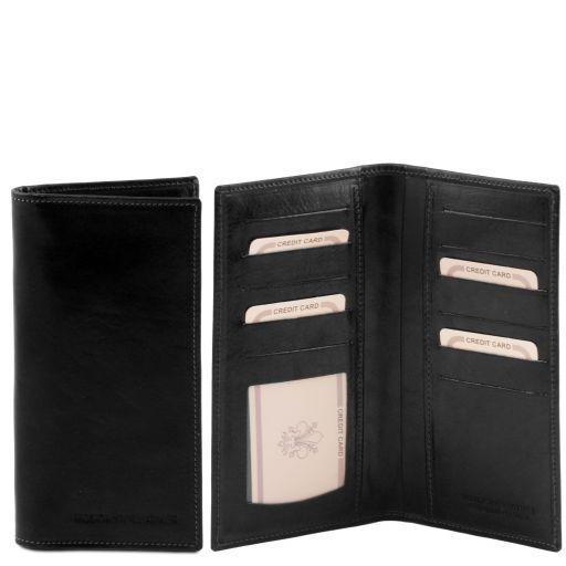 Elégant portefeuille vertical en cuir avec 2 volets Noir TL140784