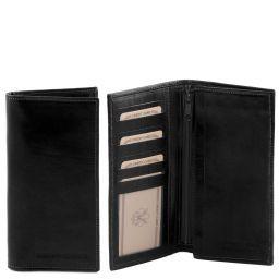 Exklusive Vertikal Herren Brieftasche aus Leder Schwarz TL140777