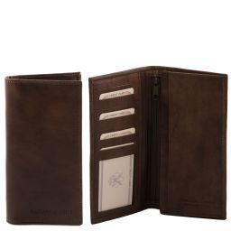 Elégant portefeuille vertical en cuir avec 2 volets Marron foncé TL140777