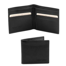 Exclusive 2 fold leather wallet for men Black TL140797