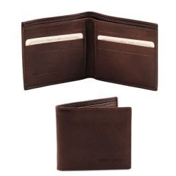 Exclusive 2 fold leather wallet for men Dark Brown TL140797