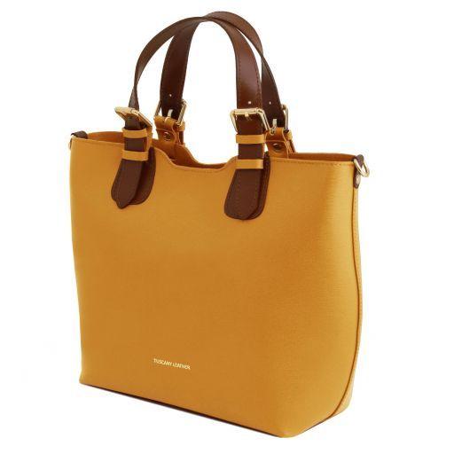 TL Bag Shopping Tasche aus Saffiano Leder Senf TL141696