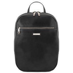 Osaka Кожаный рюкзак для ноутбука с отделением впереди Черный TL141711