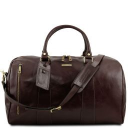 TL Voyager Travel leather duffle bag - Large size Dark Brown TL141794