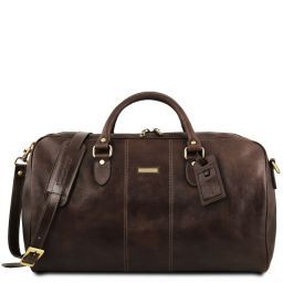 Lisbona Travel leather duffle bag - Large size Dark Brown TL141657