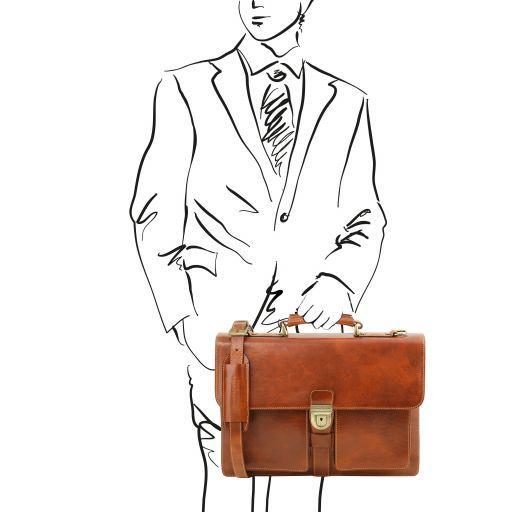 Assisi Кожаный портфель на 3 отделения Мед TL141825