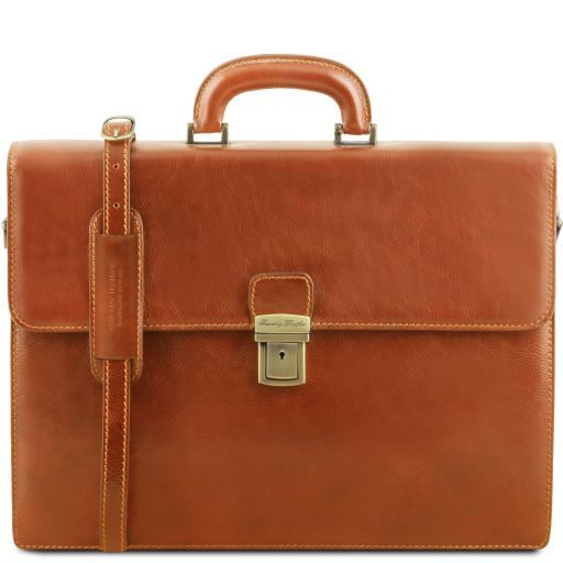 Parma Leather briefcase 2 compartments Honey TL141350