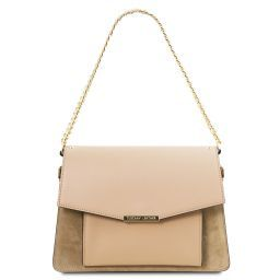 10aaa715b81d Andromeda Leather handbag with chain strap Champagne TL141807 ...