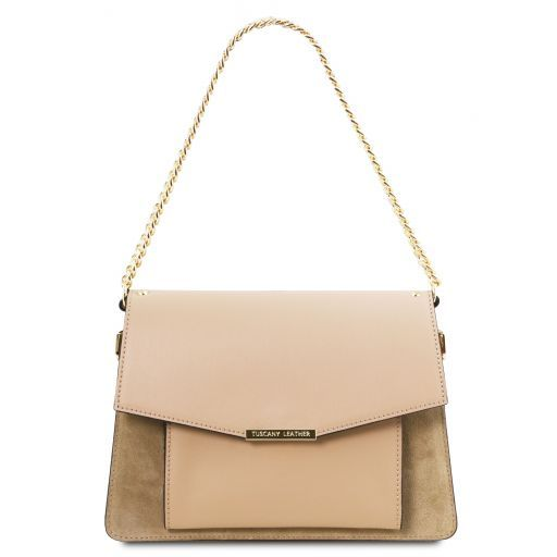 Andromeda Leather handbag with chain strap Champagne TL141807