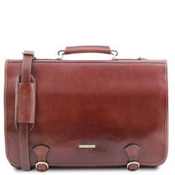 Ancona Leather messenger bag Brown TL141853