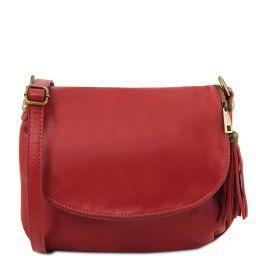 TL Bag Soft leather shoulder bag with tassel detail Red TL141223