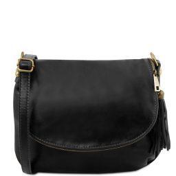 TL Bag Sac bandoulière besace en cuir souple avec pompon Noir TL141223