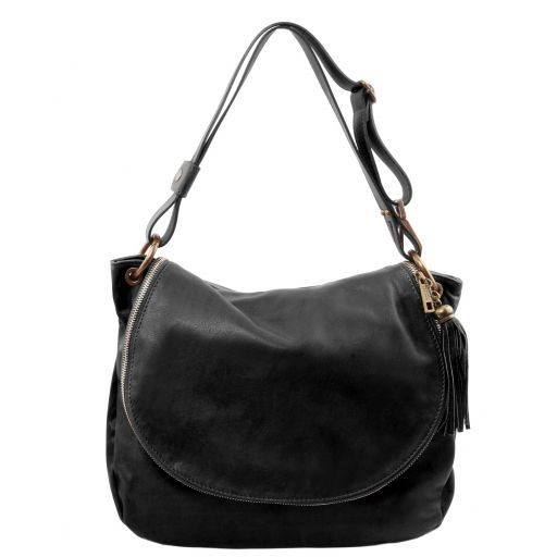 TL Bag Soft leather shoulder bag with tassel detail Black TL141110
