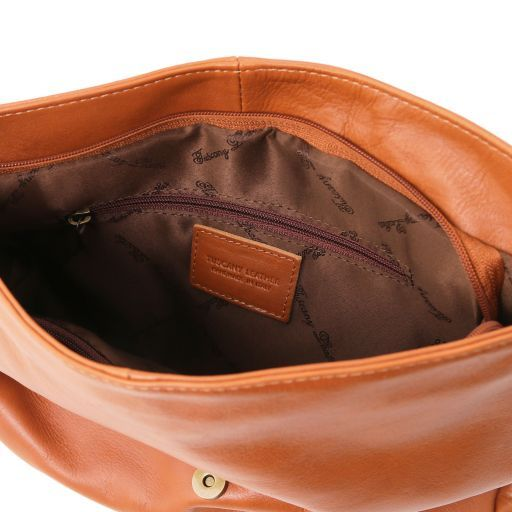 TL Bag Soft leather shoulder bag with tassel detail Cognac TL141110