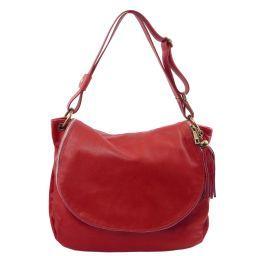 TL Bag Sac bandoulière besace en cuir souple avec pompon Rouge TL141110