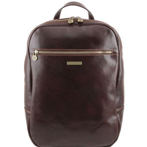 Osaka Кожаный рюкзак для ноутбука с отделением впереди Темно-коричневый TL141308