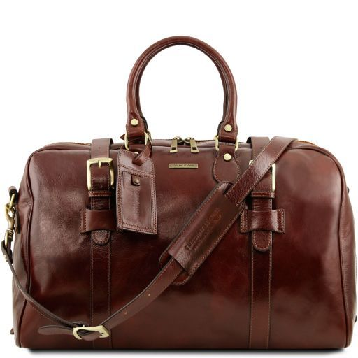 TL Voyager Дорожная кожаная сумка с пряжками - Большой размер Коричневый TL141248