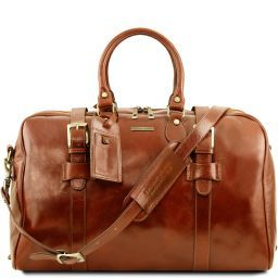 TL Voyager Leather travel bag with front straps - Large size Honey TL141248
