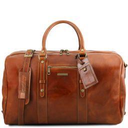 TL Voyager Reisetasche aus Leder mit Vorderfach Honig TL141401