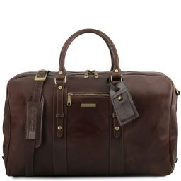TL Voyager Leather travel bag with front pocket Темно-коричневый TL141401