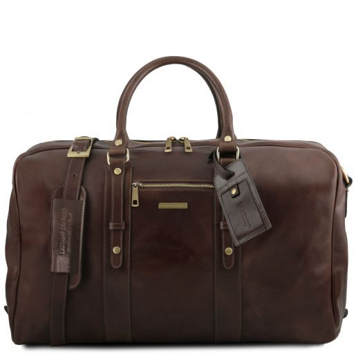 TL Voyager Reisetasche aus Leder mit Vorderfach Dunkelbraun TL141401