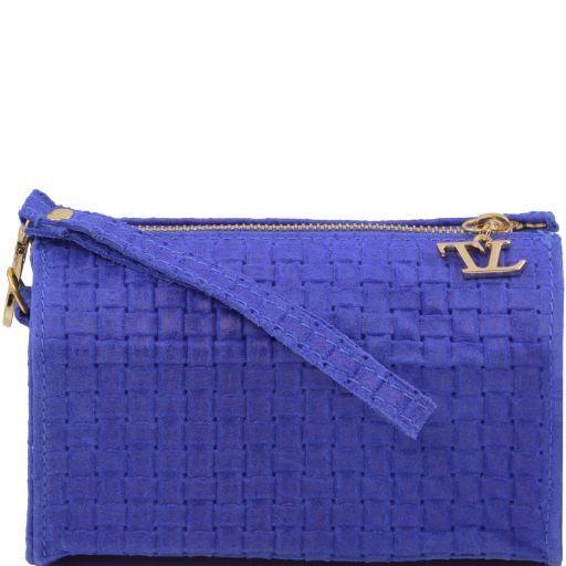 TL Bag Pochette in pelle stampa intrecciata e tracolla a catena Blu TL141312