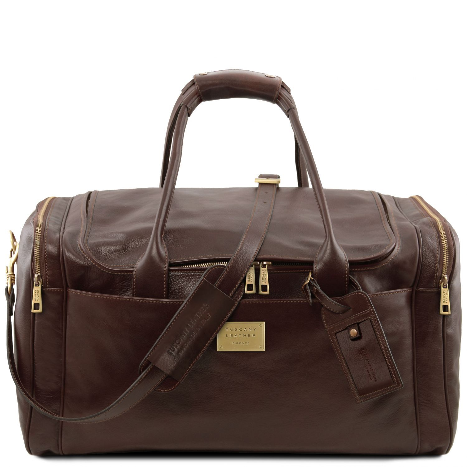 Tl Voyager Travel Leather Bag With Side Pockets Large Size